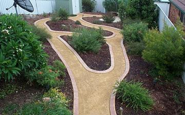 Kwik Kerb Landscape Driveway Borders And Pathway Edging, Eurostyle Stamped  And Colored Concrete Curbing Laid By Edgemaster Concrete Curb Machine.