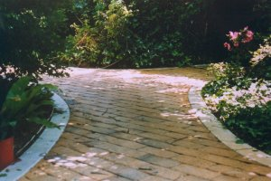 Edging both sides of a path to retain pavers and give the path a finished look.